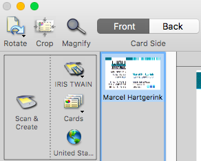 Scannen Von Visitenkarten Im Duplex Modus An Cardiris Mac